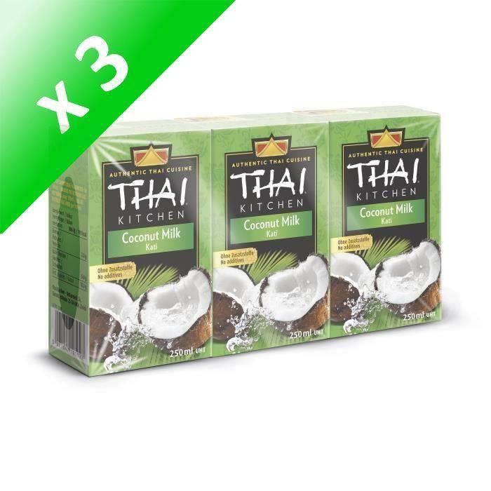[LOT DE 3] THAI KITCHEN Lait de coco Tetrapack sans additifs - 3 x 250 ml