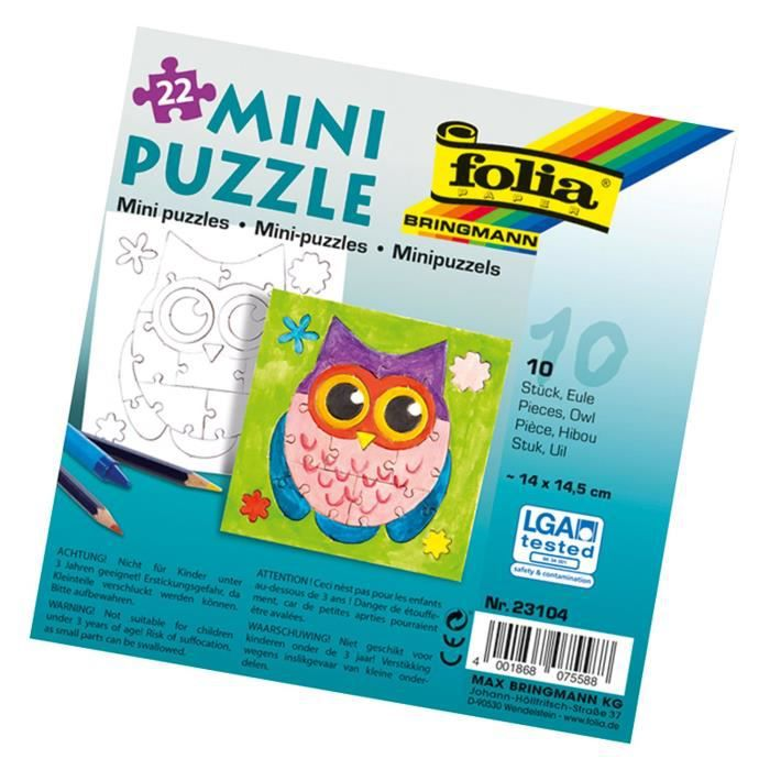 Folia ? Mini Puzzle Hibou, 14 x 14,5 cm, 22 pièces, Lot de 10, Blanc - 23104