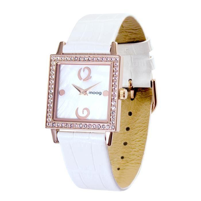 Montre Femme Moog Paris Twisted avec Cadran Nacre Blanc, Eléments Swarovski, Bracelet Blanc en Cuir Véritable - M45602-007