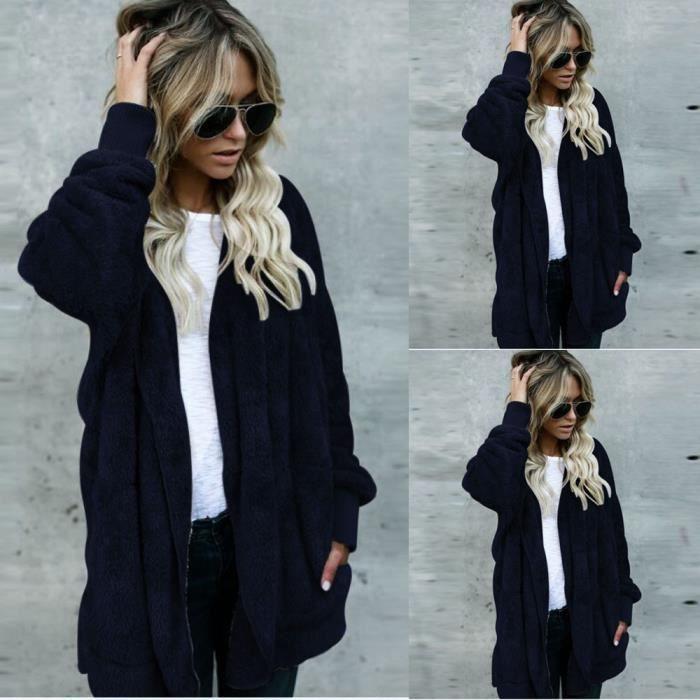 Manteau à capuche long femme manteaux à capuche manteau Parka Outwear@Marine