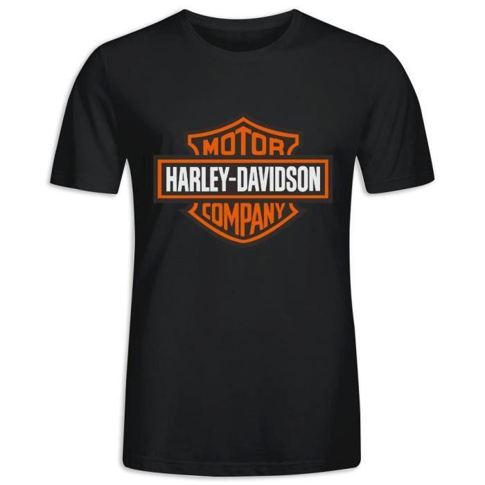 Tee Shirt avec imprimé en Harley Davidson Manche Courte T-shirt Homme