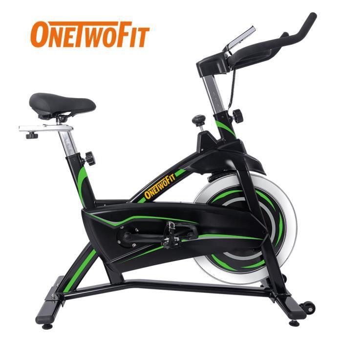 OneTwoFit vélo d'appartement 13KG Magnétique Vélo d'Intérieur Vélo Réglable Stationnaire avec Moniteur LCD Noir et Vert OT315GN