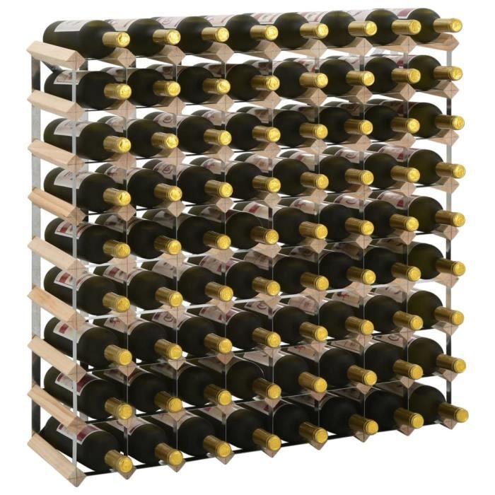 Casier à bouteilles Étagère à bouteille Cave à vin de conservation pour 72 bouteilles Pinède solide
