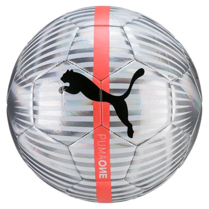 Ballon Puma One Chrome - blanc-argent-noir-rouge corail - Taille 5