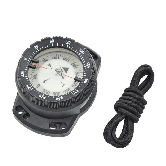 Boussole de plongée sous-marine lumineuse poignet Boussole de navigation sous-marine étanche Boussole avec cordon élastique noir