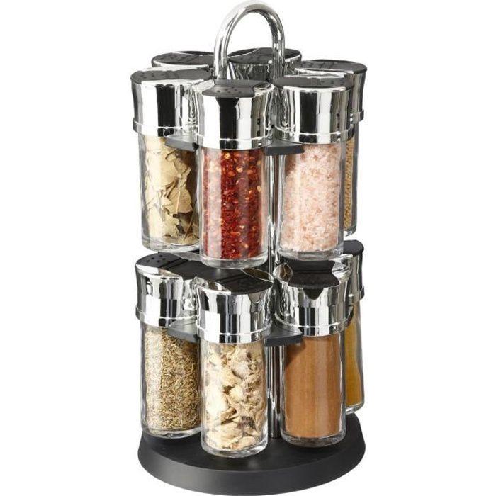 Présentoir Carrousel à épices et herbes aromatiques sur support rotatif et 12 pots en verre avec épices