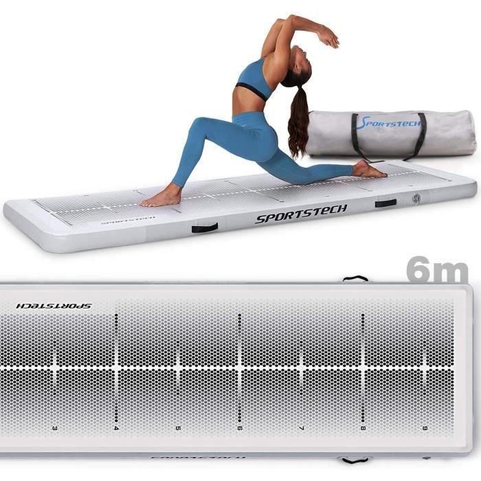 Tapis de yoga XXL avec pompe à air électrique - Matelas gonflable pour Pilates, Gymnastique et Fitness - Sportstech TM400