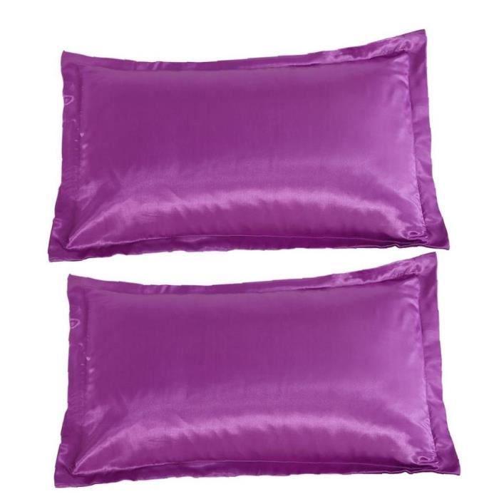 Satin Taie d'oreiller Silk sentiment anti-rides Couvre-oreiller Case de soins de la peau de cheveux 1Pair violet
