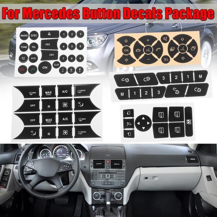 TEMPSA Voiture Autocollants Bouton De Réparation Directeur AC Serrure De Porte Fenêtre Stickers Pour Mercedes Benz 2007-2014
