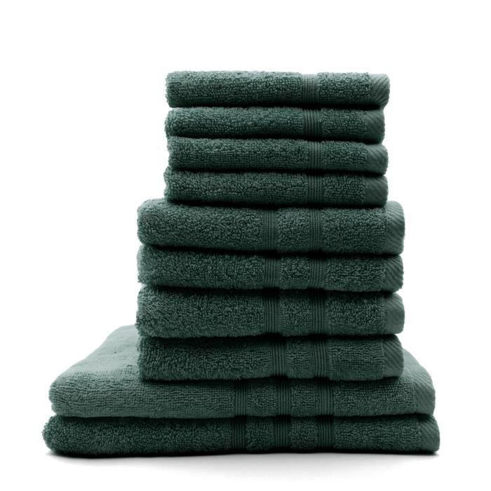 TODAY Lot de 4 Serviettes de bain 30 x 50 cm + 4 Serviettes de bain 50 x 100 cm + 2 Draps de bain 70 x 130 cm Emeraude - 100% coton TODAY