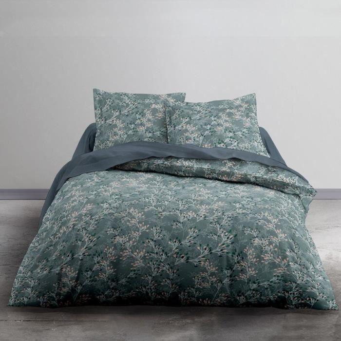 TODAY Parure de lit 2 personnes - 220 x 240 cm - Imprimé bleu Floral CRAZY Annabel TODAY