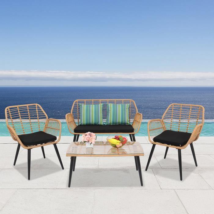 Salon bas de jardin Ensemble de quatre meubles de patio en rotin en osier extérieur en acier PE jaune