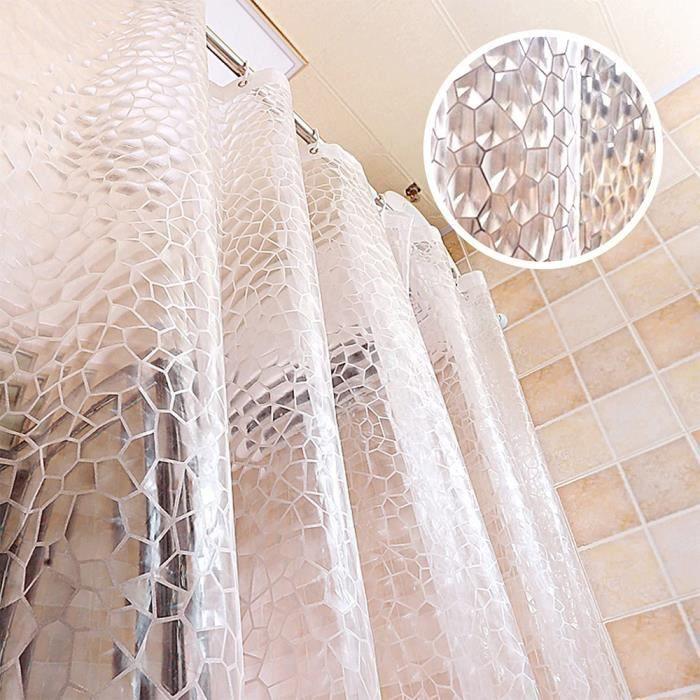 Rideau de Douche Transparent, 180x180cm 3D Rideau Douche Salle de Bain PEVA Anti-moisissure Antibactérien Imperméable Lavable avec