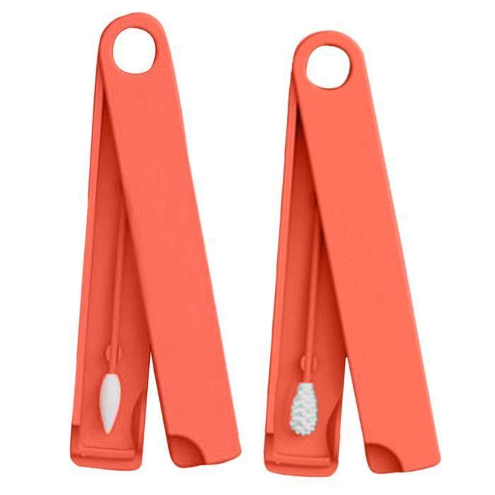 b/âtonnets /écologiques en coton de mat/ériel m/édical en silicone Coton-tige /à deux bouts r/éutilisable pour le maquillage nettoyage des oreilles lavable avec /étui de transport