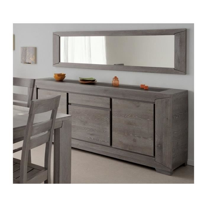 buffet 3 portes avec miroir pour s jour bruges ch ne gris achat vente buffet bahut buffet. Black Bedroom Furniture Sets. Home Design Ideas