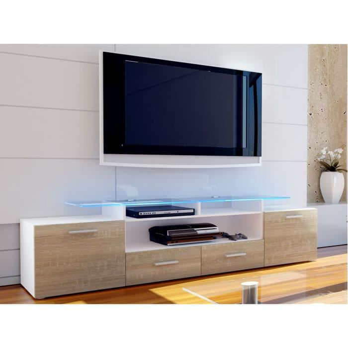 meuble tv blanc et bois brut 194 cm achat vente meuble tv meuble tv blanc et bois bru. Black Bedroom Furniture Sets. Home Design Ideas