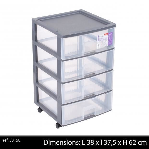 box de rangement plastique polypropyl ne 4 tiroirs bloc 4 tiroirs roulettes achat vente. Black Bedroom Furniture Sets. Home Design Ideas