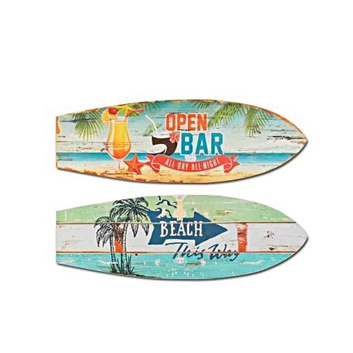 surf lot de 2 bois neuf beach open bar d co murale 60cm ambiance plage achat vente objet. Black Bedroom Furniture Sets. Home Design Ideas