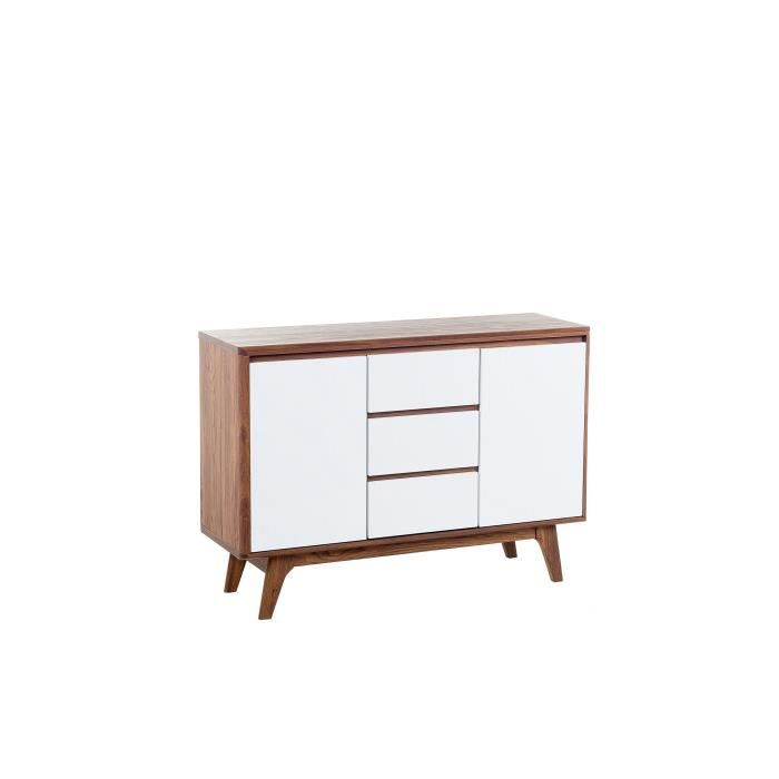 commode buffet meuble tv blanc et noyer pittsburgh achat vente meuble tag re ce. Black Bedroom Furniture Sets. Home Design Ideas