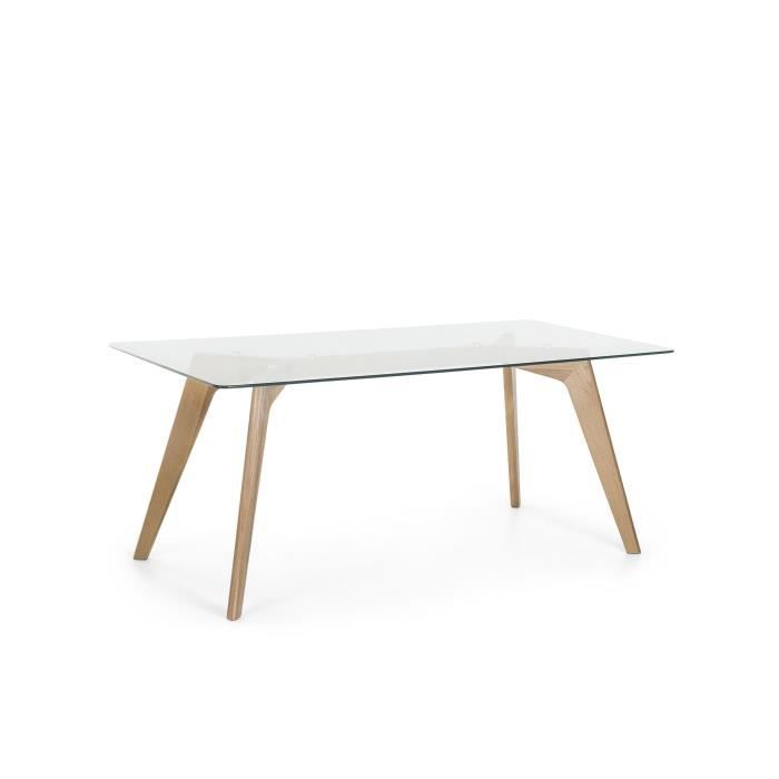 Table de salle manger table en verre 180x90 cm for Table salle a manger verre