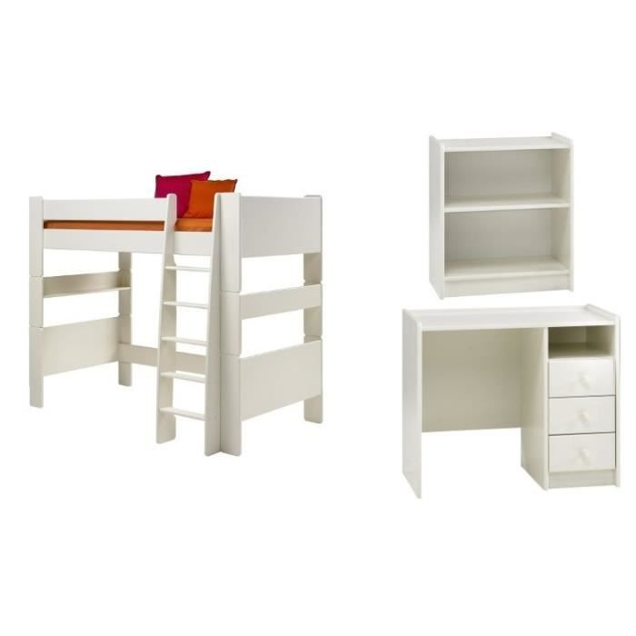 lit sureleve enfant haut alicia sans matelas avec 1 bureau 1 etagere achat vente lit complet. Black Bedroom Furniture Sets. Home Design Ideas