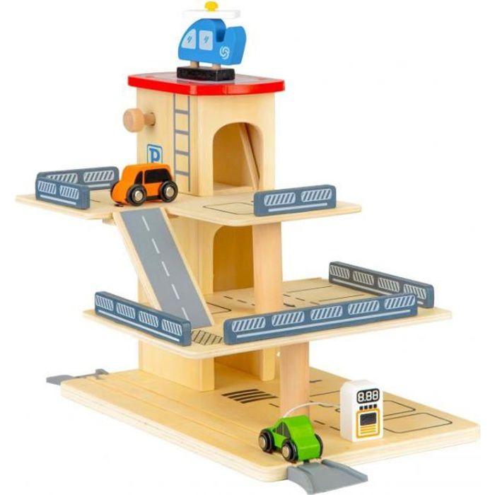 GUIZMAX Garage Voiture Valise heliport Pompe Essence Ascenseur Jouet Enfant