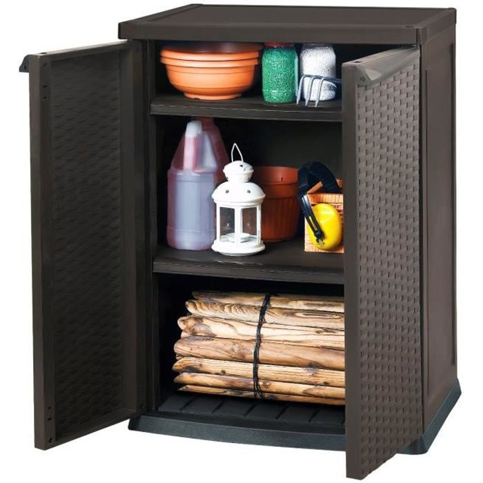 armoire basse de rangement r sine marron achat vente coffre d 39 ext rieur armoire basse de. Black Bedroom Furniture Sets. Home Design Ideas