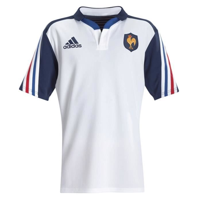 maillot de rugby ffr equipe de france ext rieur blanc blanc blanc achat vente maillot polo. Black Bedroom Furniture Sets. Home Design Ideas