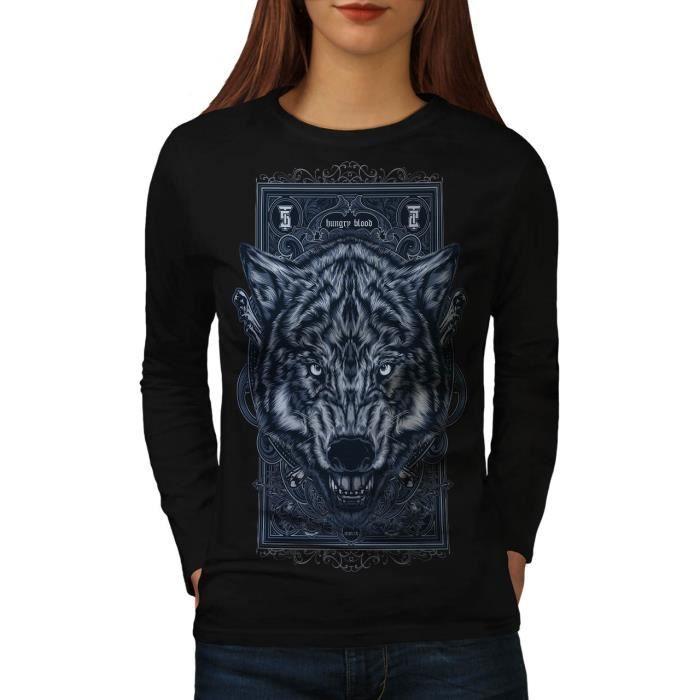 T-SHIRT Affamé Du sang Loup Animal Women  T-shirt à manche