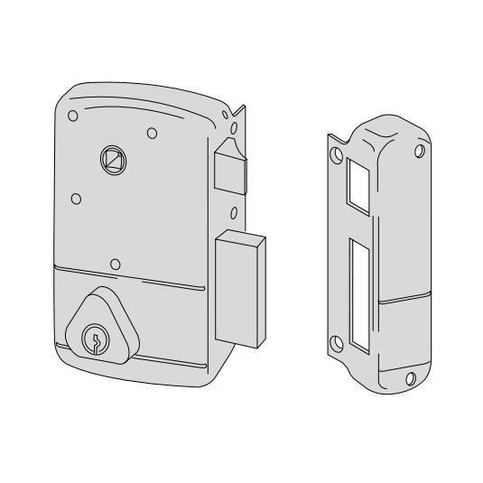 Jpm Serrure applique horizontale a tirage et bouton Tirant Gauche cylindre 40 mm