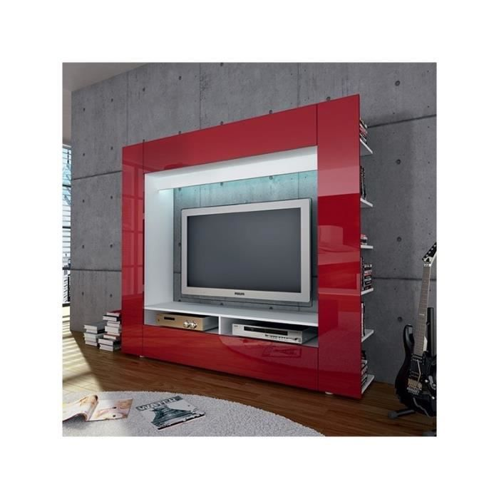 ensemble meuble tv mural rouge achat vente meuble tv. Black Bedroom Furniture Sets. Home Design Ideas