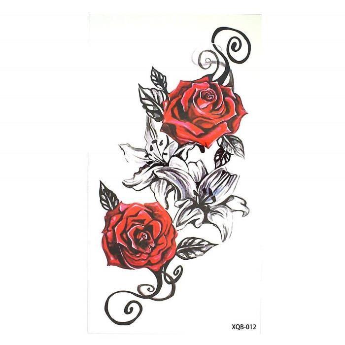 3639 Faux Tatouage Temporaire Tatouage Fleur Rouge Pour Femme Homme Enfant Tatouage Ephemere Tattoo Temporaire Fleur Achat Vente Tatoo Bijou De Corps 3639 Faux Tatouage Cdiscount