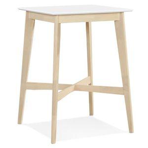 MANGE-DEBOUT Table haute 'GALLINA' en bois blanc et finition na