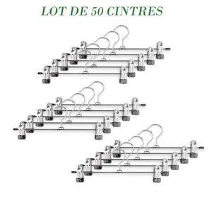 CINTRE Lot de 50 Cintres en métal avec pince et encoches
