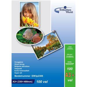 PAPIER PHOTO EtikettenWorld - 100 Feuilles Papier Photo A3+ Plu