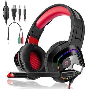 CASQUE AVEC MICROPHONE Casque PS4 Gaming,Casque Audio Stéréo Basse avec L