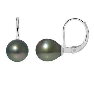 Boucles d'Oreille Dormeuses Perle Grise 6 mm Or Jaune GF 750*