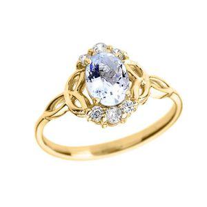 BAGUE - ANNEAU Bague Femme 14 Ct Or Jaune Aquamarine Et Diamant T