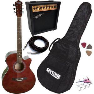 PACK INSTRUMENTS CORDES Pack Guitare Électro-Acoustique Jumbo Rouge 5 Acce