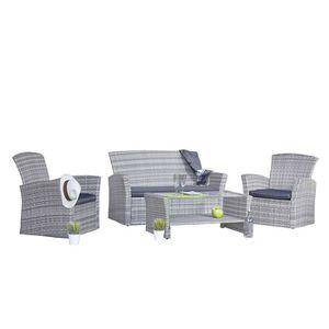 Salon de jardin 1 canape 2 fauteuils table basse