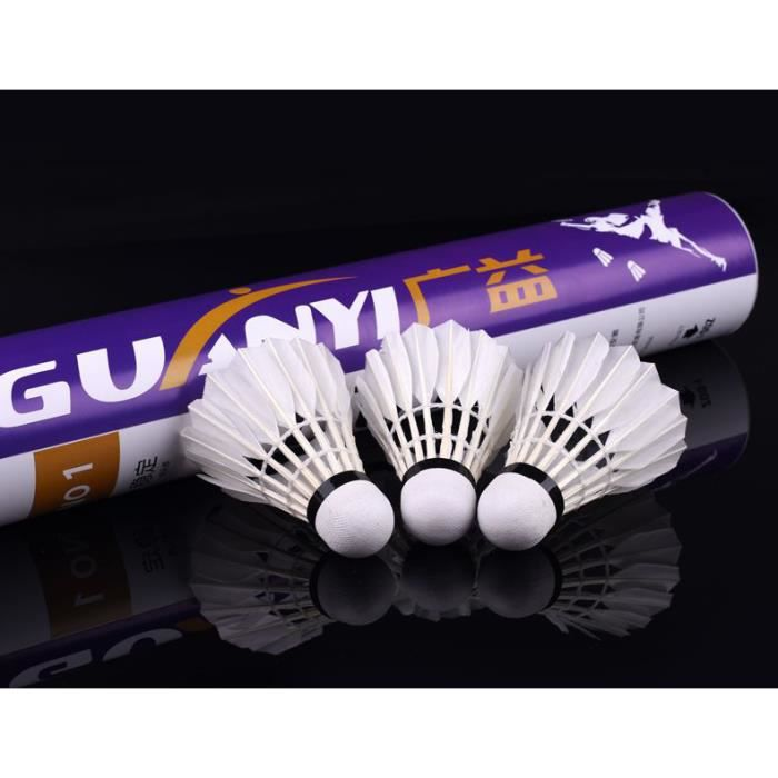 Lot de 12 Volants de Badminton en Plumes d'oie pour entraînement en intérieur et en extérieur