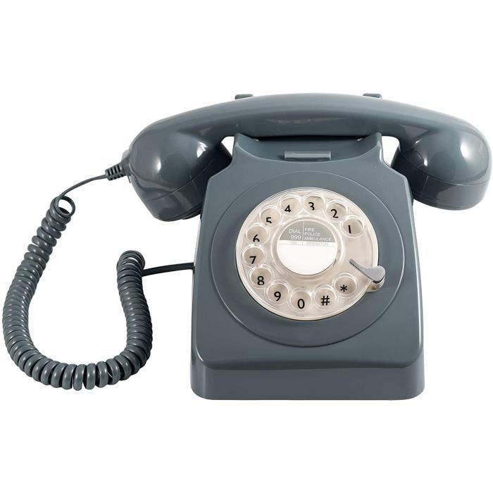 GPO 746 Téléphone fixe rétro de style années 1970 à cadran rotatif - Cordon extansible, sonnerie authentique - gris