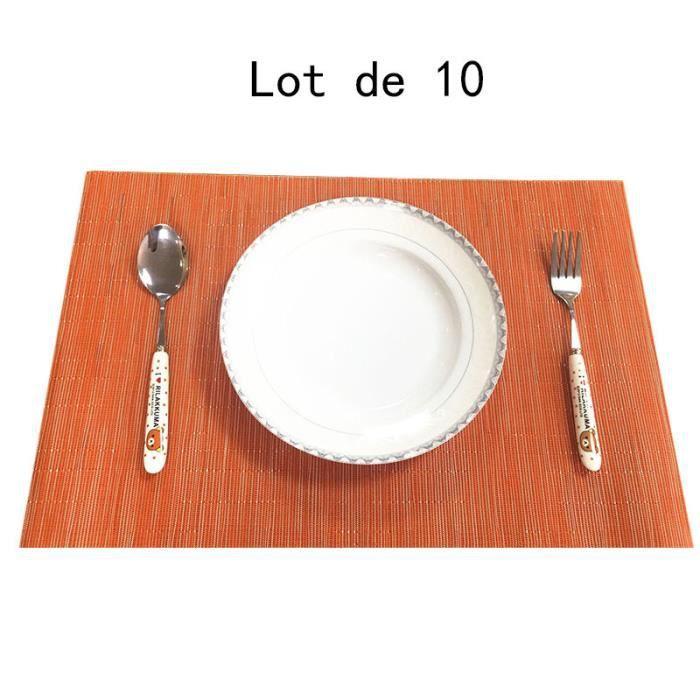Lot de 10 Set de Table Bambou Antidérapage Résistance à la chaleur et au frottement Orange