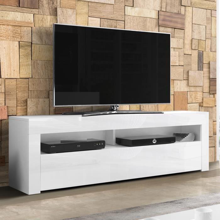 Meuble TV / Meuble de salon - ALAN - 160 cm - blanc mat / blanc brillant - sans LED - style moderne