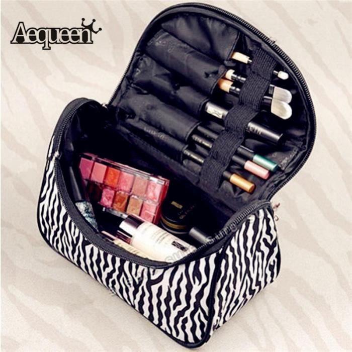 AEQUEEN sac Trousse de maquillage zèbre cosmétique toilette pinceaux rangement pochette
