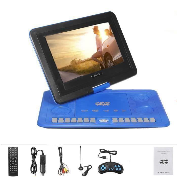 NEUFU DVD Lecteur Portable Voiture 13.8 pouces 270° Pivotan Rechargeable Télécommande Écran USB SD bleu