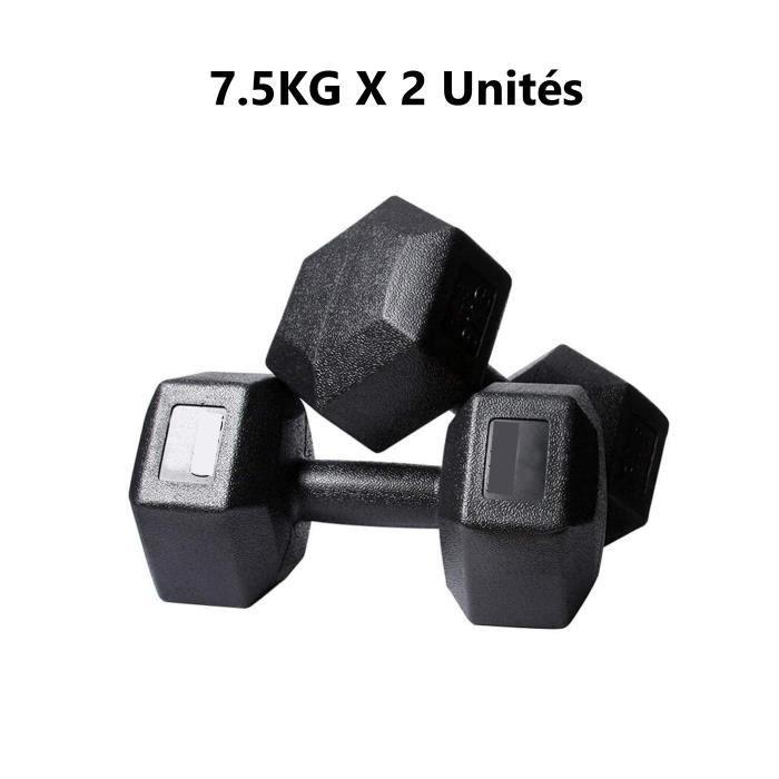 2 Haltères Hexagonale chaque 7.5kg Paire d'haltères Dumbbell Musculation Fitness