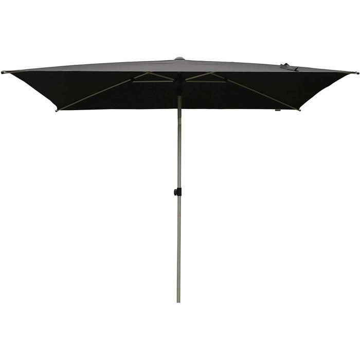 PARASOL SORARA Porto Parasol de Jardin Exterieur - Noir - 300 x 200 cm (3 x 2 m) - Rectangulaire - M&eacutecanisme Push-up (Pie10