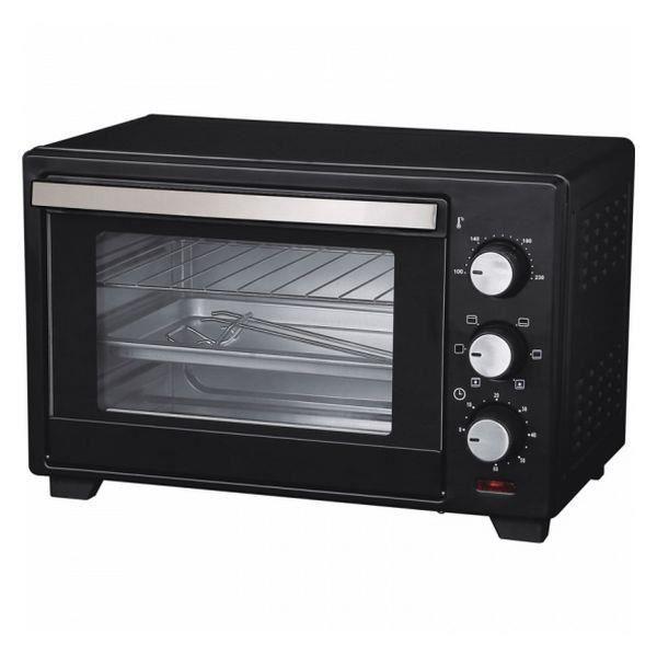 Mini Four Electrique à convection posable en acier inoxydable, Fonction grill, Pâtisserie, Contenance: 25 L, Thermostat, 1600 W Noir