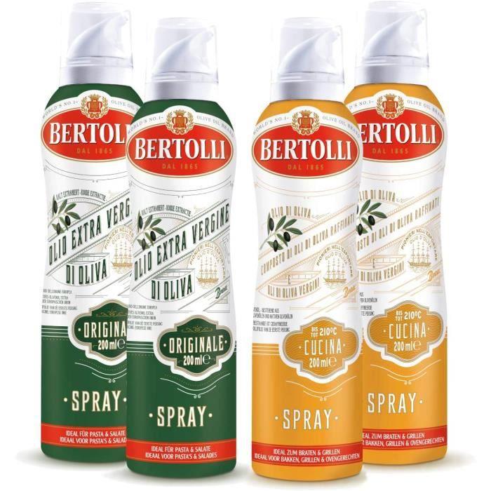 Bertolli Spray à l'huile d'olive Olio Di Oliva Cucina 2x200ml + Olio Di Oliva Extra Virgin Originals 2x200ml